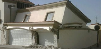 Earthquake damaged structure